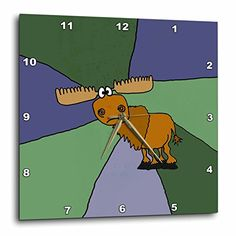 All Smiles Art Animals - Grumpy Moose Art with Colorful Background - 10x10 Wall Clock (dpp_200485_1) 3dRose http://www.amazon.com/dp/B00NW0AO3S/ref=cm_sw_r_pi_dp_Inc4wb13F3PVV
