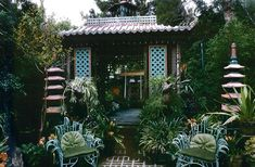 "This is a pagoda in the garden at ""Dawnridge"" Tony Duquette"
