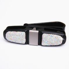 Buy 2019 New Bling Bling Crystal Car Sun Visor Glasses Ticket Clip Holder Fashion Car Accessories Perfect for Girls Ladies Women Glasses Case, Car Accessories, Bling Bling, Ticket, Sun, Belt, Crystals, Lady, Girls