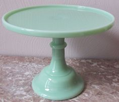 "Jade Jadite Milk Green Glass Plain & Simple Cake Plate Pastry Tray Bakers - 10"""