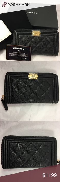 BNWT Chanel Black Caviar Boy Zip Wallet 2017 Very Rare and sold out in stores Chanel 2017 Caviar Leather Zipped Around Boy Wallet in Gold Hardware.  Comes with original packaging: Chanel box, velvet bag, care booklet, Authenticity card and tag.  Receipt will be provided upon request by the buyer.  Ships ASAP!  No trades please.  Feel free to DM me for inquiries and photos if interested. CHANEL Bags Wallets