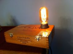 Handcrafted Cigar Box Lamp with Edison style bulb. by DaLightLamps, $45.00