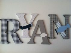 wooden letters for nursery Airplane themed by SummerOlivias