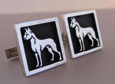 Vintage Sterling Fenwick and Sailors Boxer Dog Cufflinks