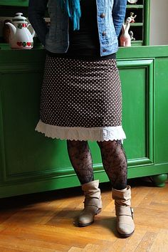 """""""Römö"""" skirt (Farbenmix pattern). Love the style of it, the lace gives it such a great touch ♥."""