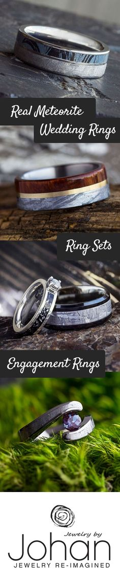 Handmade with genuine meteorite, our space jewelry will blow you away for many years to come! Talk to one of our design consultants today about our many meteorite wedding ring options.