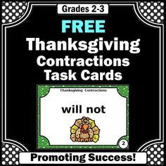 Thanksgiving Free: Thanksgiving Free Activities with Contraction Words Negating a Verb - Your students are going to love these printable (pdf) Thanksgiving  task cards.  There are many Thanksgiving activities and games you can play with these task cards.
