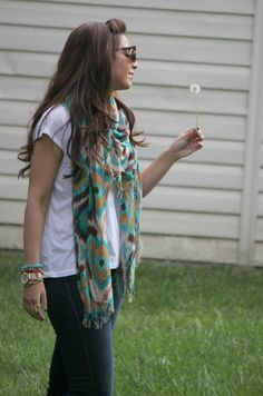 Scarf outfit....you can make a plain shirt look prettier with a scarf