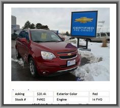 2014 Chevrolet Captiva Sport LT SUV  Alloy Wheels, Heated Seats, Daytime Running Lights, Tinted Windows, Auto-Dimming Mirror, Engine Immobilizer, Power Windows, Rear Side Airbags