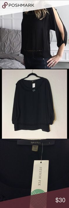 Stitch Fix Fun2Fun Welby Cold Shoulder Top Black This Blouse from Fun 2 Fun for Stitch Fix is so cute! It has Side Slit sleeves and beautiful cutouts along the neck and bottom hemline. This item is new with tags. fun 2 fun Tops Blouses