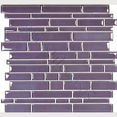 Lilac Random Bricks Purple Cane Solids Glossy Glass Tile for main floor bathroom