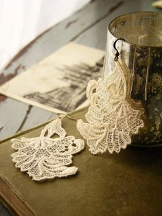 diy lace earrings MAKING THESE! I have stuff to stiffen the lace....Most earrings are too heavy and they hurt my ears