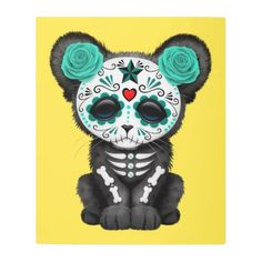 #Posters #Metal #Art - #Blue Day of the Dead Black Panther Cub Metal Print