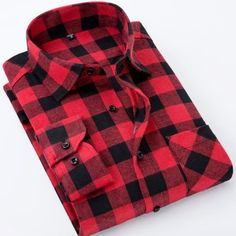 Buy Red And Black Plaid Flannel Mens Shirts Long Sleeve Social Masculino Brand Autumn Button Checkerboard Male Shirts Chemises Homme Long Sleeve Shirt Dress, Long Sleeve Shirts, Dress Shirts, Fashion Business, Check Shirt Man, Camisa Formal, Casual Shirts, Plaid Shirts, Jackets