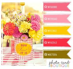 bright pinks, yellow