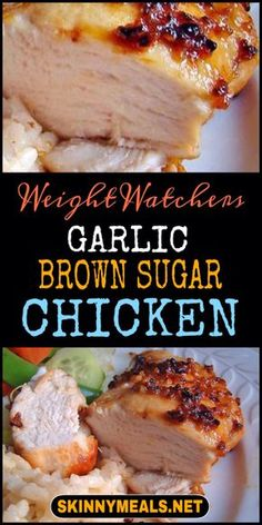 Baked Garlic Brown Sugar Chicken recipe: A quick, easy chicken recipe for days when you don't want to spend time in the kitchen. Even finicky people will eat it. This Garlic Brown sugar chicken recipe come with 5 Weight Healthy Chicken Alfredo, Healthy Chicken Recipes, Brown Sugar Chicken, Baked Garlic, Diet Food List, Easy Healthy Breakfast, Morning Food, Ww Recipes, Weight Watchers Meals