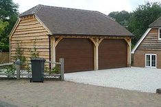 2 Bay Oak Garage with Sliding Doors