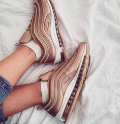 "64 Likes, 11 Comments - Ashleigh (@fitasfudge_) on Instagram: ""Rose gold hype. ✨ Nike Air Max 97 Ultra - Metallic Bronze (They aren't black or grey - this is a…"""