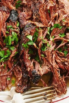 Mississippi Roast is traditionally made by placing a chuck roast in a slow cooker and simmering it beneath a stick of butter, a package of ranch dressing mix, another of au jus gravy mix and a handful of pepperoncini. But replacing the packaged mixes re Slow Cooker Recipes, Crockpot Recipes, Cooking Recipes, Nytimes Recipes, Cooking Nytimes, Whole30 Recipes, Top Recipes, Potato Recipes, Casserole Recipes