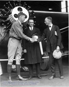 "Charles A. Lindbergh, Richard Byrd, and Clarence Chamberlin (l. to r.) with the ""Spirit of St. Louis,"" New York, May 13, 1927.The Manuscripts and Archives Digital Images Database (MADID)"