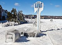 """""""Lakewalk on Ice""""<br /> <br /> A strong low pressure system kicked up some powerful wind, waves, and spray on Lake Superior, encasing Duluth's Lakewalk area in inches-thick ice. As the storm moved out, the Lakewalk glimmered in the emerging sunlight."""
