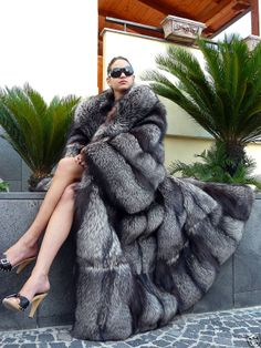 gigantic silver fox fur coat