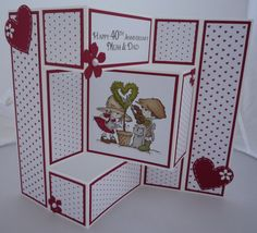 Love this style card & recipients are really impressed by it! Tri Fold Cards, Fancy Fold Cards, Folded Cards, 3d Cards, Love Cards, Trifold Shutter Cards, Anniversary Cards, Ruby Anniversary, Pop Up Karten