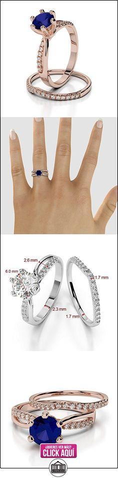 AG & Sons Hombre  750 Gold  oro rosa Round Brilliant Cut Round Brilliant   azul G-H diamante zafiro  ✿ Joyas para hombres especiales - lujo ✿ ▬► Ver oferta: https://comprar.io/goto/B01I6V8FSS
