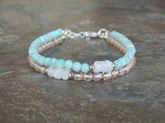 Layered Bracelet, Amazonite Bracelet, Light Blue Bracelet for Her, Gemstone Bracelet, Multistrand Bracelet, Minimalist Bracelet by lelizabethjewelry on Etsy https://www.etsy.com/listing/519468100/layered-bracelet-amazonite-bracelet