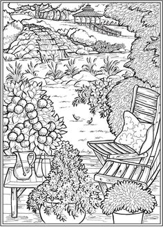 Welcome to Dover Publications - CH Country Gardens Dover Coloring Pages, Garden Coloring Pages, Detailed Coloring Pages, Abstract Coloring Pages, Printable Adult Coloring Pages, Cute Coloring Pages, Free Coloring, Printable Art, Coloring Books