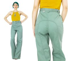 New to honeymoonmuse on Etsy: 1970s High Waisted Pants Vintage DITTOS Olive Green Pants Military Soft Womens Wide Leg Trousers Flared Pants Saddleback Pants Boho (M) (125.00 CAD)