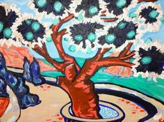 my first painting of Greece-of the island of Hydra and my absolute favorite tree! acrylic on canvas by Katie Jurkiewicz
