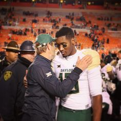 Baylor's Coach Art Briles and 3rd-string quarterback Chris Johnson after handing No. 6 OSU its 1st loss of the 2015 football season, 45-35. #SicEm