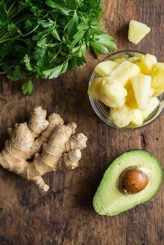 Happy Digestion Smoothie — Oh She Glows. pineapple, parsley, ginger, banana, lemon, avocado