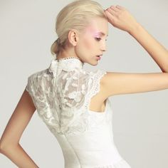 White Sleeveless High Neck Insert Embroidery Lace Dress