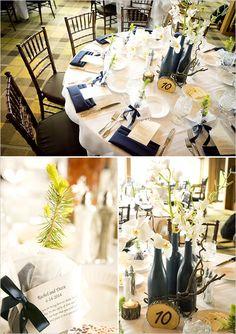 navy Tahoe wedding | navy wedding decor | rustic tablescape | table number ideas | #weddingchicks