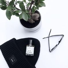 "Kellye↟ on Instagram: ""A few of my favorites. 🌱"" Acne Studios beanie, ray band glasses and A. N. Other Fragrance. #anotherfragrances #ovrslo #flatlay #acnestudios #rayban #minimal Flat Lay, Acne Studios, Ray Bans, Minimal, Fragrance, Beanie, Flats, My Favorite Things, Glasses"
