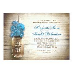 Blue Wedding Rehearsal Dinner Invitations rustic mason jar rehearsal dinner invitations