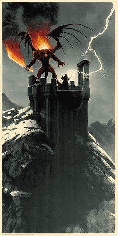 Stunning 'LOTR' Gandalf Posters By Matt Ferguson Gandalf vs the balrog. Middle Earth Art, Fantasy, Balrog, Lotr Art, Fantasy Art, Lord, Lord Of The Rings, Pictures, Poster