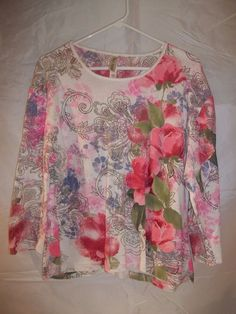 Endless Designs Women's 3/4 Sleeve Top Shirt Multi Color Floral Plus Size 2X  #women's #plussize #shirt #top #plussizefashion #clothing #clothes #apparel #onlinestore #onlineshopping #ebay #ebaystore