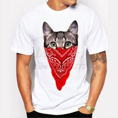 Men's Funny Short Sleeve Gangster Cat Printed T-Shirt O-Neck Cool Tops love skulls get your skulls. Shirt Bluse, Herren T Shirt, Funny Tee Shirts, Cool T Shirts, Casual T Shirts, Men Casual, Casual Tops, Latest Summer Fashion, Gangster