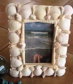 Beach Wedding Sea Shell Picture Frame by valdoesart on Etsy, $15.00