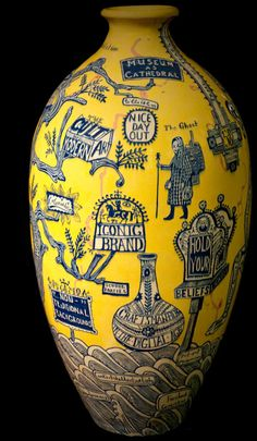 """'The Rosetta Vase' (2011) by British artist Grayson Perry (b.1960). From 2012 exhibit """"The Tomb of the Unknown Craftsman."""" via the British Museum"""