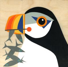 """Puffin Downeast, mixed media on panel, 10""""x10"""" Betsy Thompson https://www.facebook.com/BetsyThompsonStudio"""