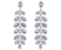 Swarovski Baron Silvertone and Pale Blue Crystal Drop Earrings Women's Blue Earrings, Crystal Earrings, Crystal Jewelry, Drop Earrings, Pierced Earrings, Swarovski Gifts, Swarovski Jewelry, Swarovski Crystals, Leaf Jewelry