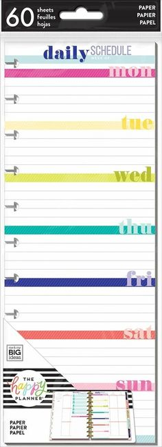 """the Happy Planner SKINNY Classic Happy Notes """"RECIPE"""" Notebook 60 Sheets NEW"""