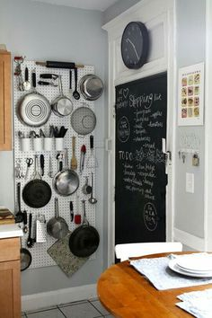 No storage? need organization?kill 2 birds with one stone..pots and pans and other things on wall.. may use stainless steel grid for modern look..