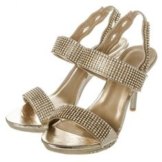 Medium Heel Sling back Platform Diamante Sandal