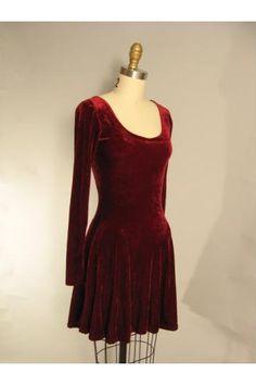Vintage 90s Betsy Johnson Ruby Velvet Grunge Mini Dress