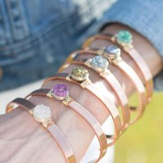 Another simple way to accent is to stack some cuff bracelets or use them separately for a simple, carefree look. Wire Wrapped Bracelet, Metal Bracelets, Bangle Bracelets, Handmade Bridal Jewellery, Handmade Bracelets, Handmade Gifts, Druzy Jewelry, Rose Gold Jewelry, Jewlery